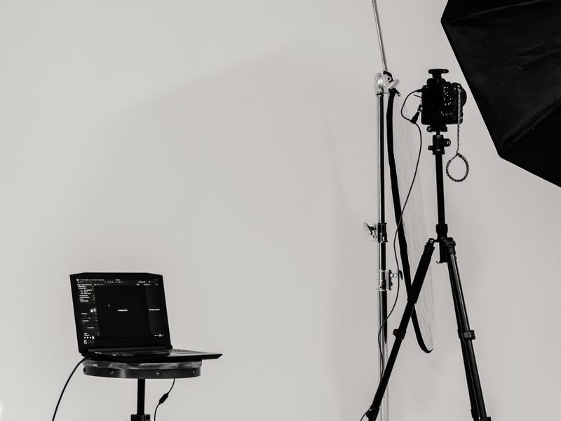 A studio with camera and lighting equipment